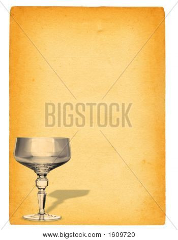 Champagne Glass Against Paper