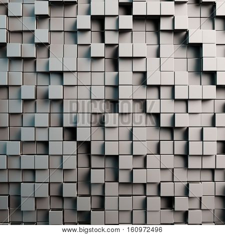 Grey abstract 3D background with tiles and cubes (3D Rendering)