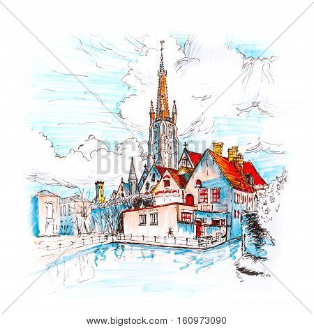 Color hand drawing, picturesque city landscape with a lake, Old St. John's Hospital and the Church of Our Lady in Bruges, Belgium. Picture made with markers