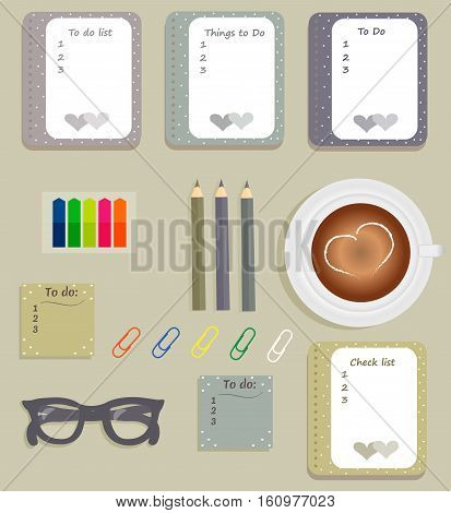 Stationery: The sheets of the planner in a cute polka dots. To Do Lists with little hearts. Multi-colored stiсkers. Cup with coffee on saucer. Dark blue glasses. Pencils. Clips. Vector illustration.