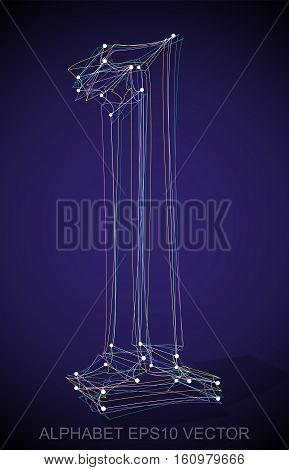Abstract illustration of a Multicolor sketched L with Transparent Shadow. Hand drawn 3D L for your design. EPS 10 vector illustration.