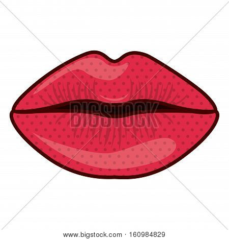 Female mouth cartoon icon. Lips expression character and caricature theme. Vector illustration