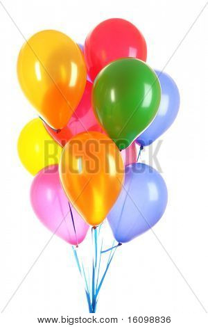 Fliegende Luftballons, isolated on white