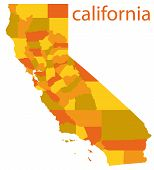 stock photo of mendocino  - hi detailed vector map of california state - JPG