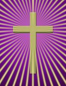 Cross with beams on purple
