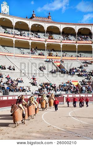 MADRID, SPAIN - OCTOBER 17: Corrida starts with the defile by three cuadrillas (teams) of toreros (bullfighters)  before a bullfight at the Plaza del Toros de Las Ventas, October 17, 2010, Madrid, Spain