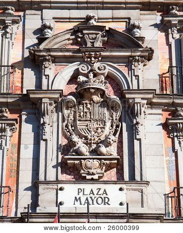 Detail of Casa de la Panaderia in Plaza Mayor, Madrid , Spain