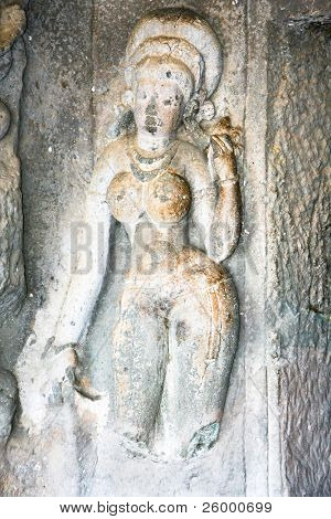 Statue in ancient rock temples at Ajanta , Maharashtra, India