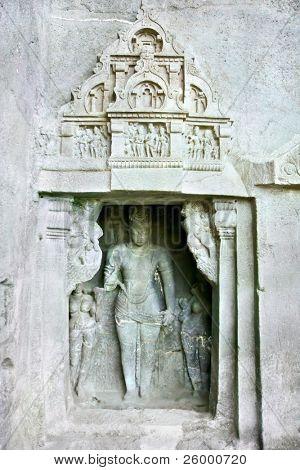Stone sculptures in the  Ellora rock carved Buddhist temple, Aurangabad, Maharashtra, India