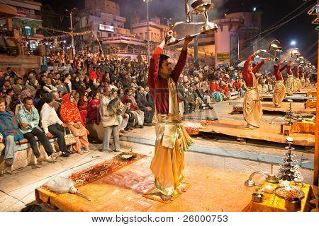 VARANASI, INDIA - FEBRUARY 09: Hindu Priests conducts religious ceremony Ganga Seva Nidhi on February 09, 2008 at Dashashwamedh Ghat in Varanasi, Uttar Pradesh, India.