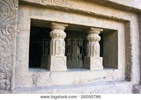 Entrance in ancient Ellora rock carved Buddhist temple, Aurangabad, Maharashtra, India