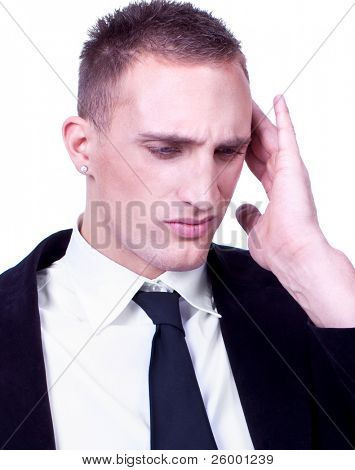 Close up Businessman with severe migraine headache holding his head