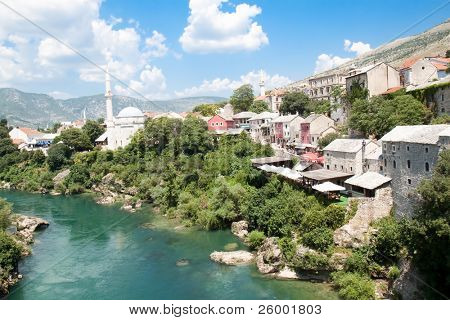 Panoramic view on famous toristic place Mostar, viewed from the old bridge, Bosnia and Herzegovina