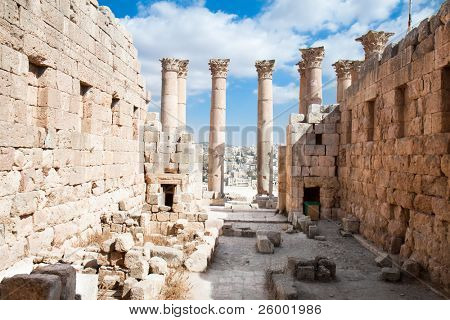 Temple of Artemis in Jerash,(the Roman ancient city of Geraza). Jordan.