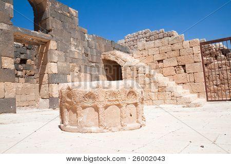 Stone well  in Qasr Al Hallabat desert castle, Jordan