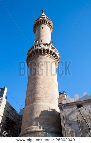 Minaret of King Hussein Mosque in Amman, Jordan