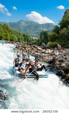 NERETVA, BOSNIA-JULY 25: Unidentified team at practice session at the first day of training at Rafting Championship in the canyon of River Neretva on July 25, 2009 in Neretva, Bosnia and Herzegovina.