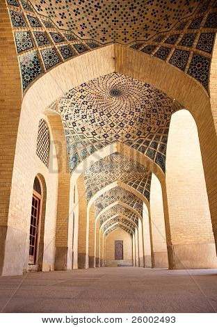 Passage with pillars of Prayer Hall, , Nasir al-Molk Mosque, Shiraz, Iran