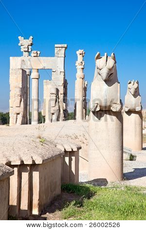 Griffin statue at entrance gate to ancient city of Persepolis, Iran