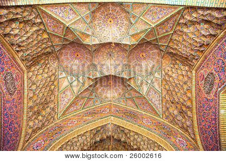View of ceiling Nasir al-Mulk Mosque, Nasir al-Molk Mosque, Shiraz, Iran