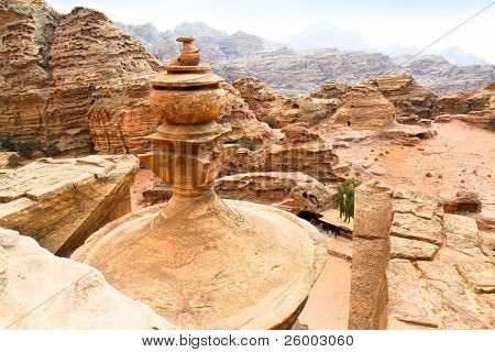 Roof of the Monastery in Petra. Made by digging a holes in the rocks and cutting the hill. Jordan