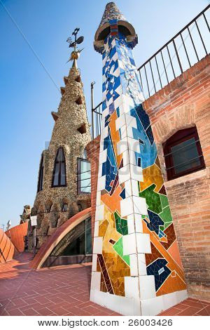 BARCELONA, SPAIN - OCTOBER 2:The arched roof and complex chimney  on  of Palau Güell, Gaudi's  masterpieces,  one of  the earlest Gaudi's  masterpieces, on October 02, 2011 in Barcelona, Spain