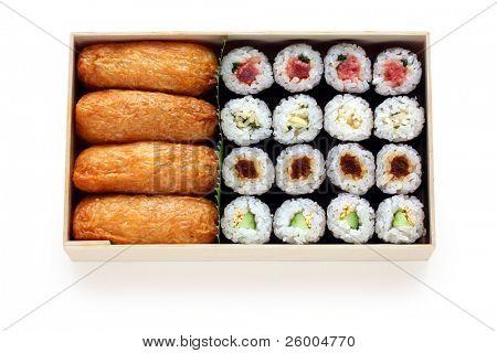 Assortment of traditional japanese sushi