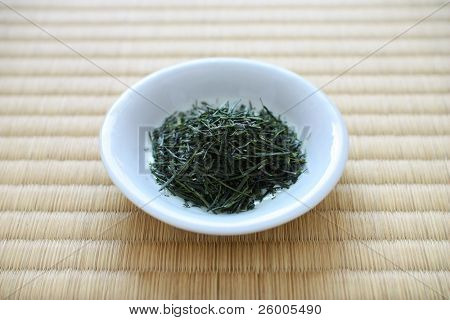 Japanese Green Tea Leaves and Tatami