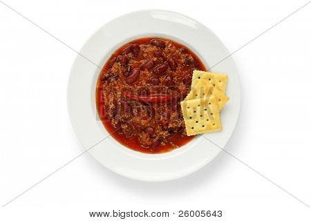 Chili beans with crackers
