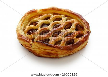 Whole apple pie isolated on white background