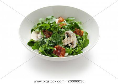 Watercress mushroom salad