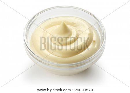 homemade mayonnaise on white background