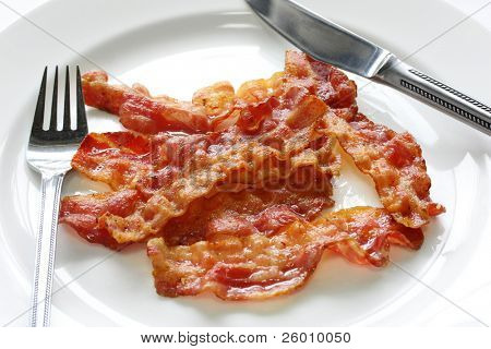 close up of fried crispy bacon