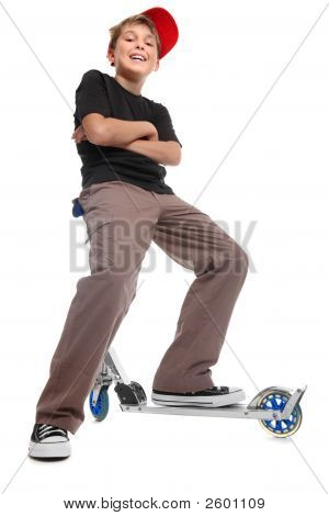 Boy Sitting Handlebars Scooter