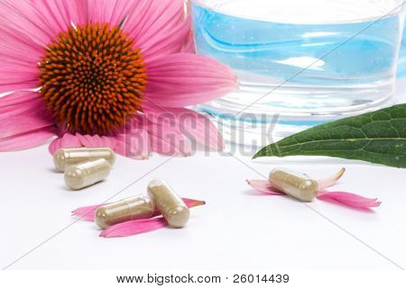 Closeup of Echinacea extract pills, fresh Echinacea flowers and glass of water best suited for alternative medicine ads. shallow DOF.