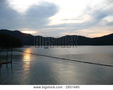 Sailing On Lake Watauga At Sunset