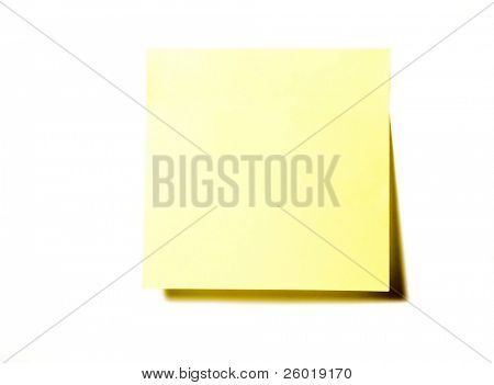 Yellow self-adhesive office sticker