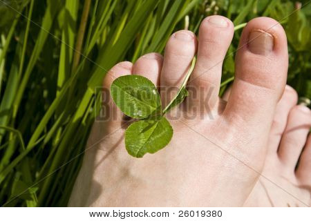 Bare woman's feet in grass with shamrock