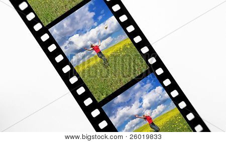 Film strip with snap shots of a young girl in a rapeseed field