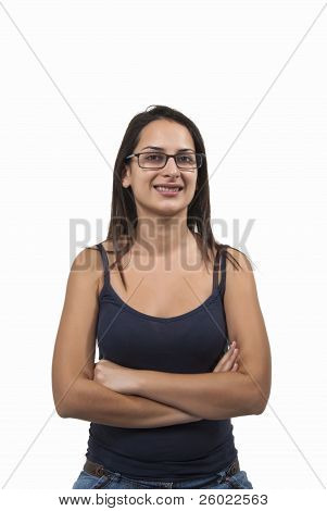Lady With Glasses Smiling