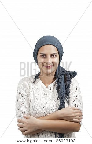 Female With Blue Veil Smile