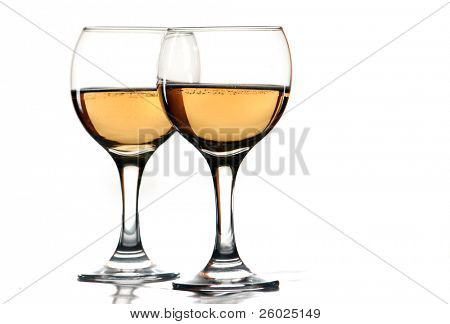 Wine glasses with white wine