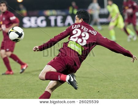 CLUJ-NAPOCA, ROMANIA - FEBRUARY 28: Leo Veloso in action at a Romanian National Championship soccer game CFR Cluj vs. Steaua Bucuresti, February 28, 2010 in Cluj-Naoca, Romania.