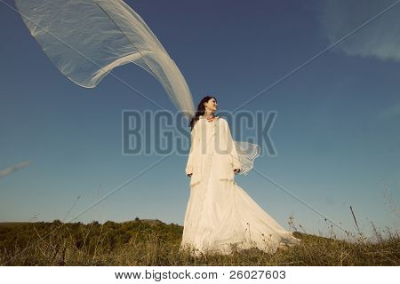 Portrait of romantic woman on field with veil in the wind