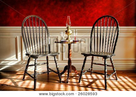 Antique Black Windsor Chairs In Old Historic Home
