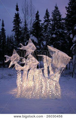 An Ice Sculpture of Fish in Fairbanks, Alaska
