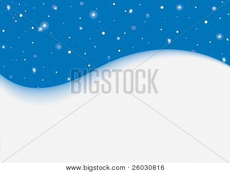 blue background with stars and snowfall, christmas theme