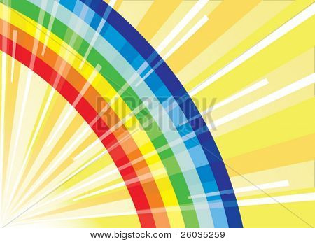 Rainbow on  background of beams of the sun. Vector illustration