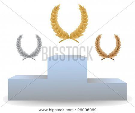 Pedestal with three laurel wreaths