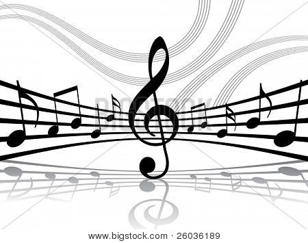 Abstract musical lines with notes. Vector illustration